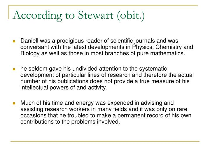 According to Stewart (obit.)