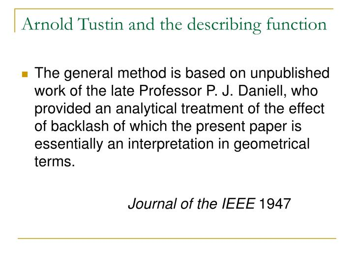 Arnold Tustin and the describing function