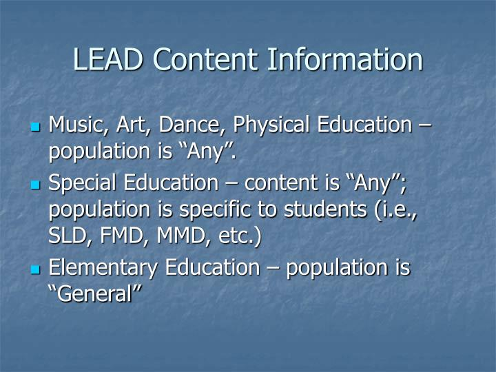 LEAD Content Information