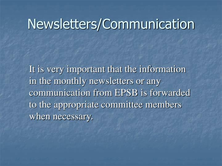 Newsletters/Communication