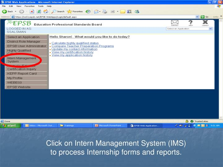 Click on Intern Management System (IMS)