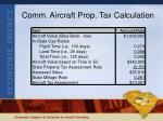 comm aircraft prop tax calculation