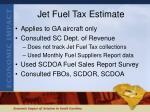 jet fuel tax estimate