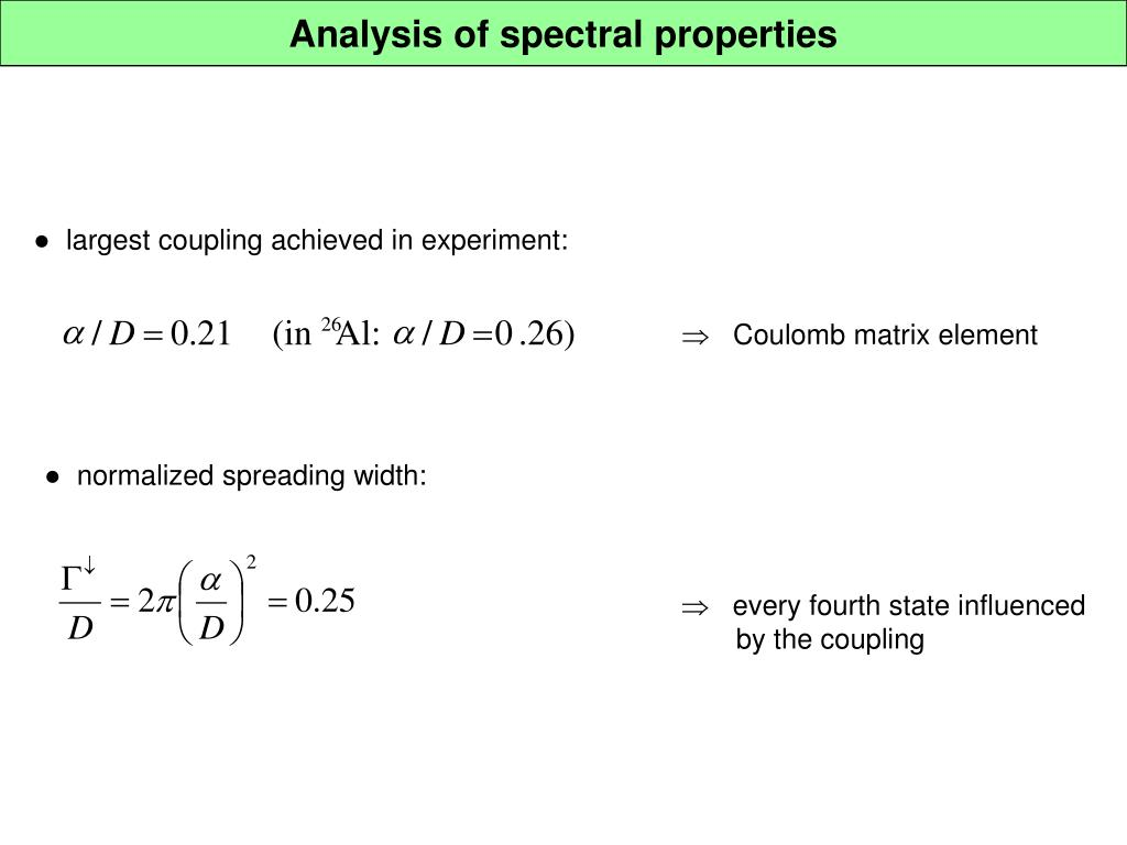 Analysis of spectral properties