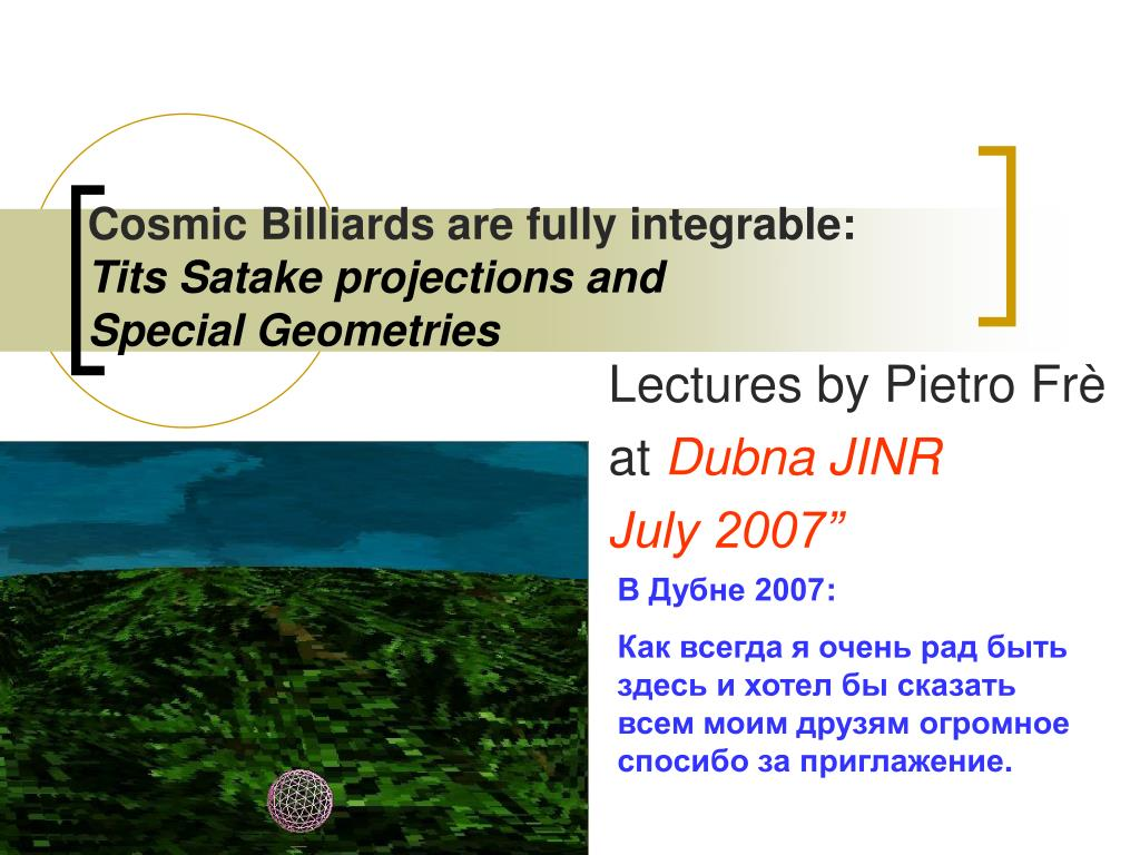 cosmic billiards are fully integrable tits satake projections and special geometries l.
