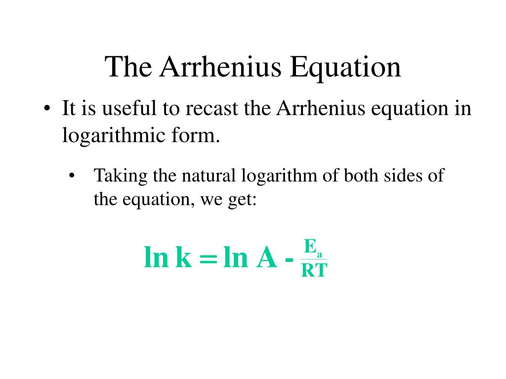 Taking the natural logarithm of both sides of the equation, we get: