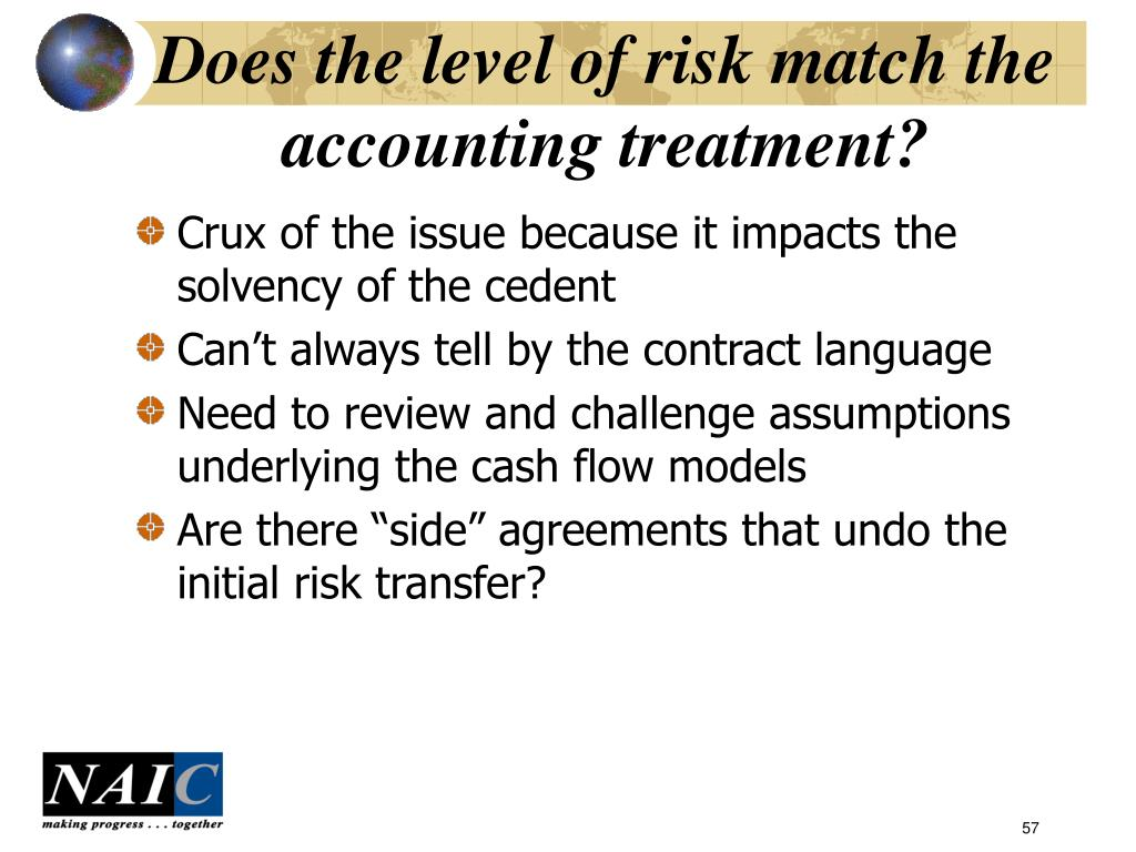 Does the level of risk match the accounting treatment?