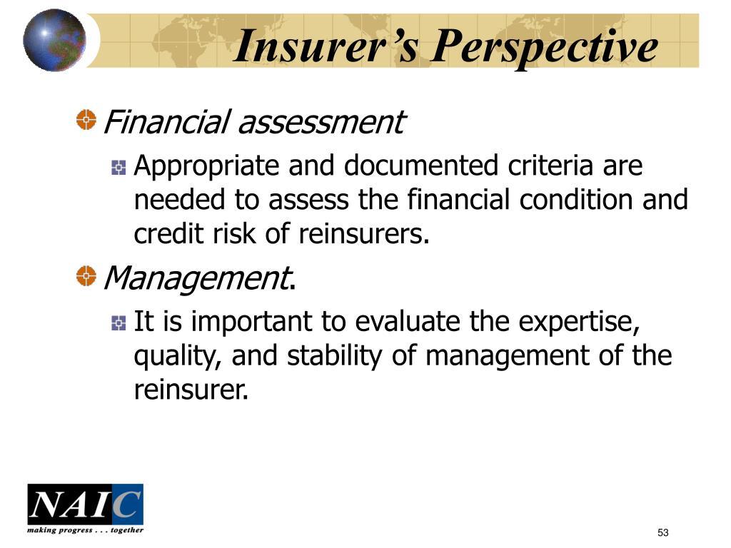 Insurer's Perspective