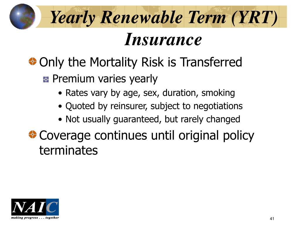 Yearly Renewable Term (YRT) Insurance
