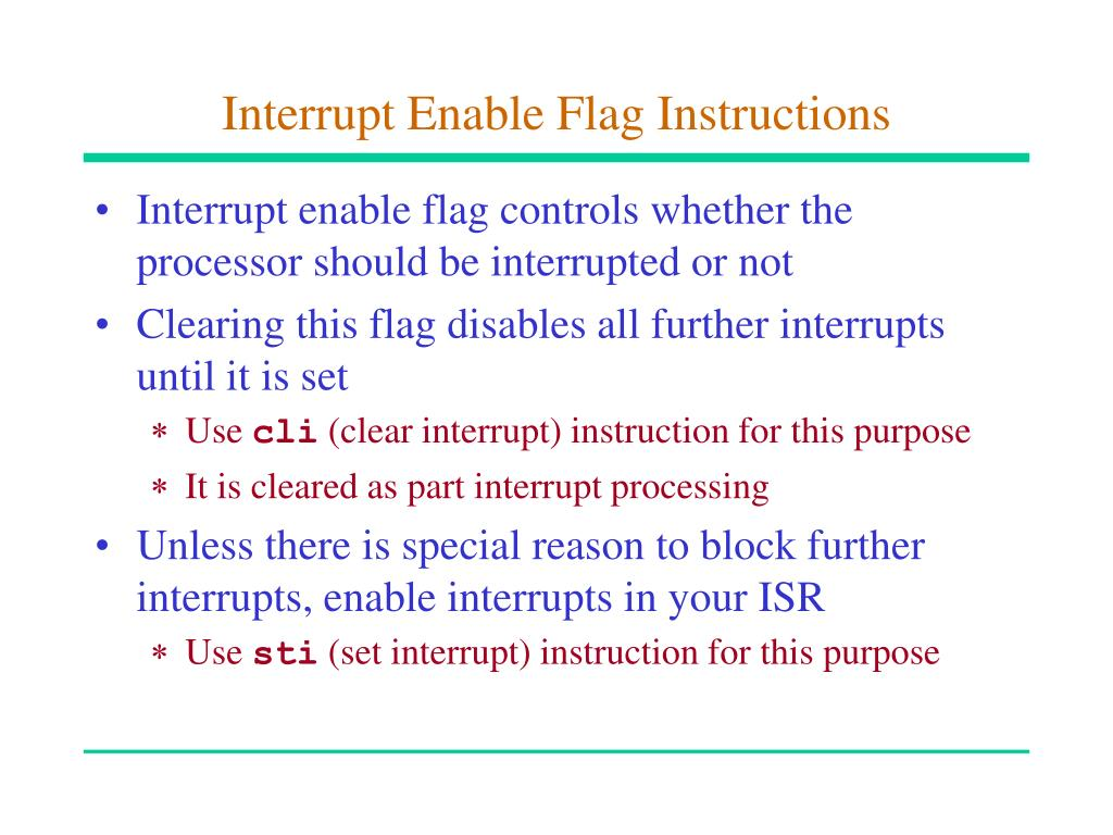 Interrupt Enable Flag Instructions
