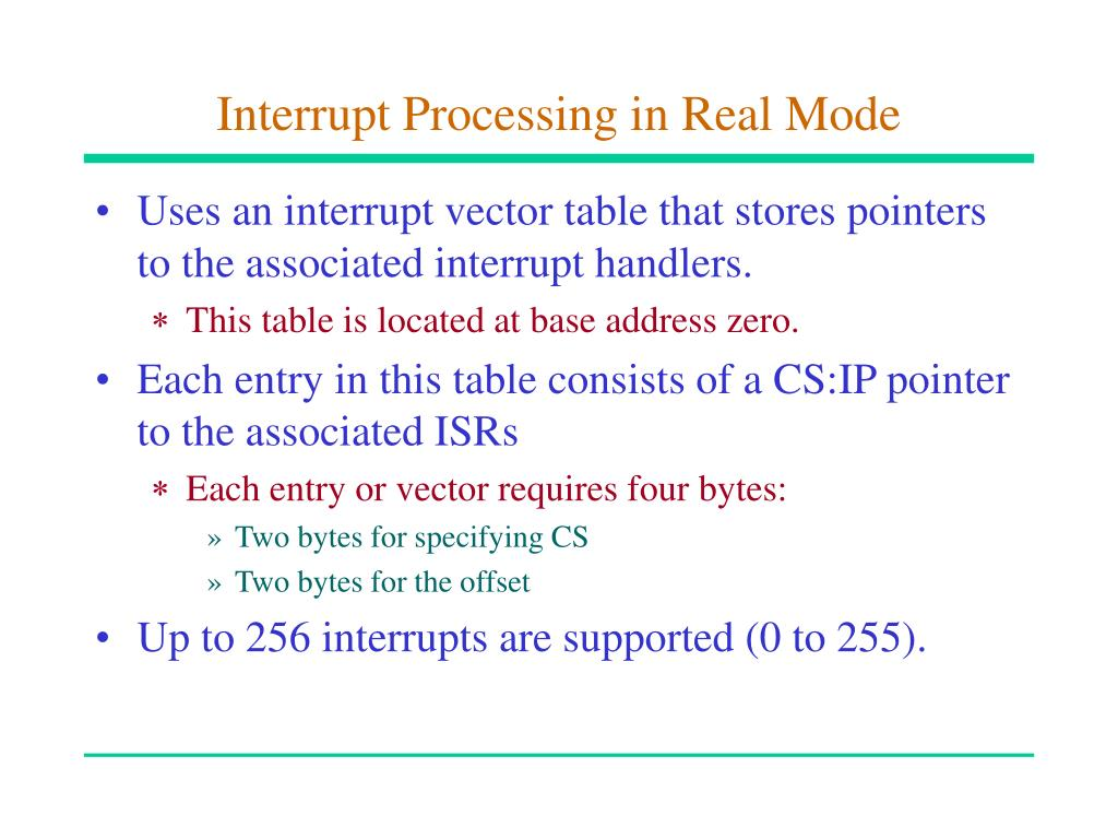 Interrupt Processing in Real Mode