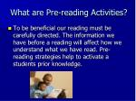what are pre reading activities