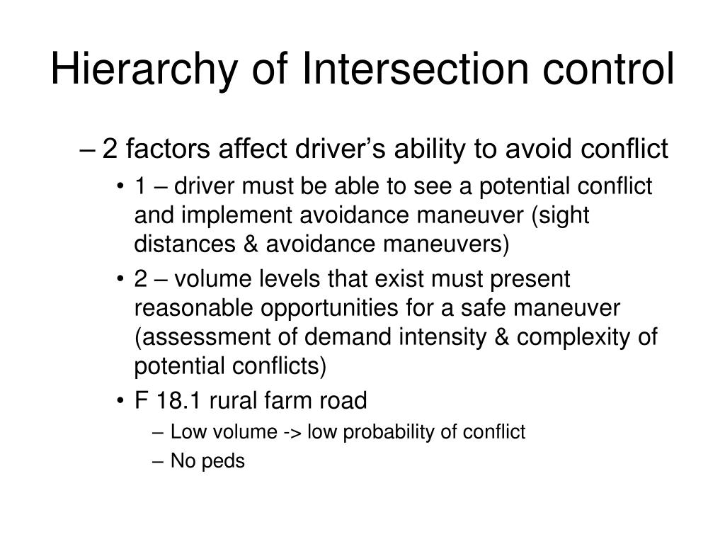 Hierarchy of Intersection control