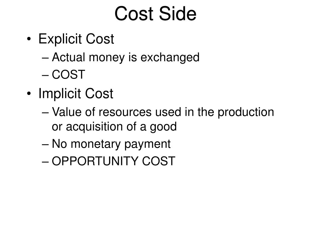 Cost Side