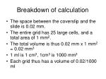 breakdown of calculation