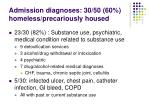 admission diagnoses 30 50 60 homeless precariously housed