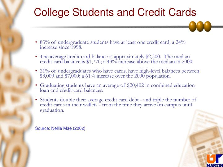 credit card debt among college students essay Consumers and credit cards: a  average household credit card debt reached $16,420  college students have grown up in the age of credit,.