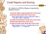 credit reports and scoring