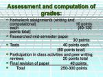 assessment and computation of grades