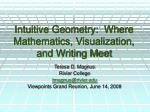 intuitive geometry where mathematics visualization and writing meet