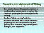 transition into mathematical writing