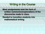writing in the course