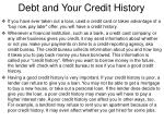 debt and your credit history