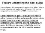 factors underlying the debt bulge