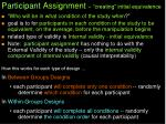 participant assignment creating initial equivalence
