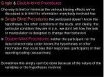 single double blind procedures