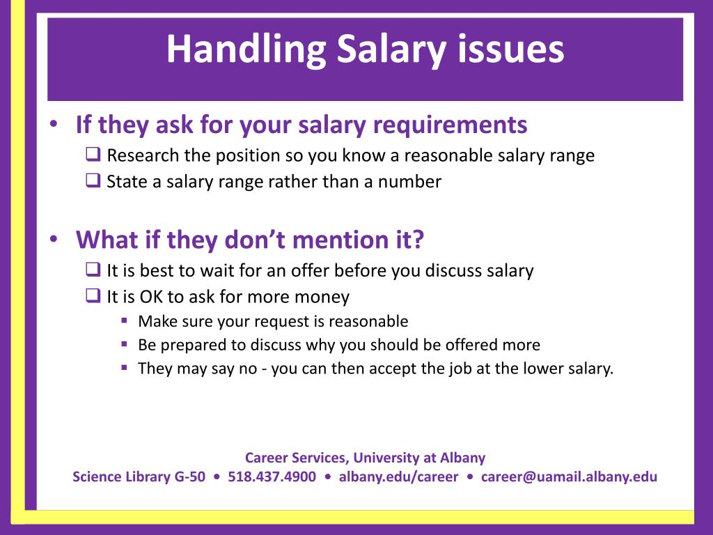Handling Salary issues