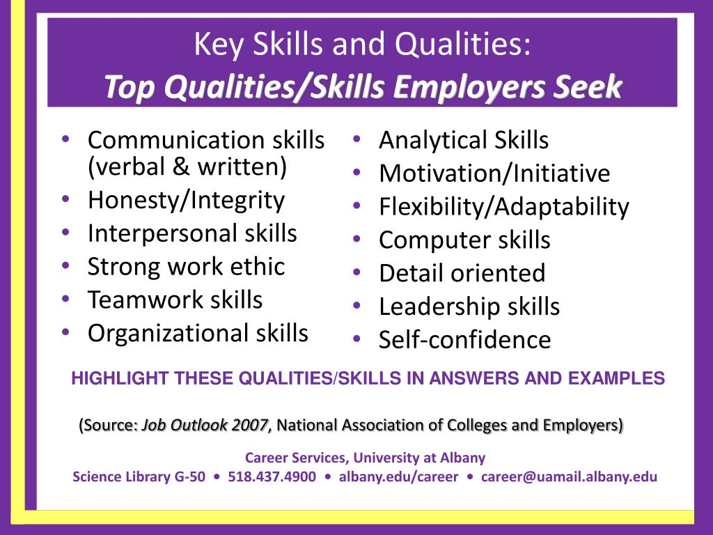 Key Skills and Qualities: