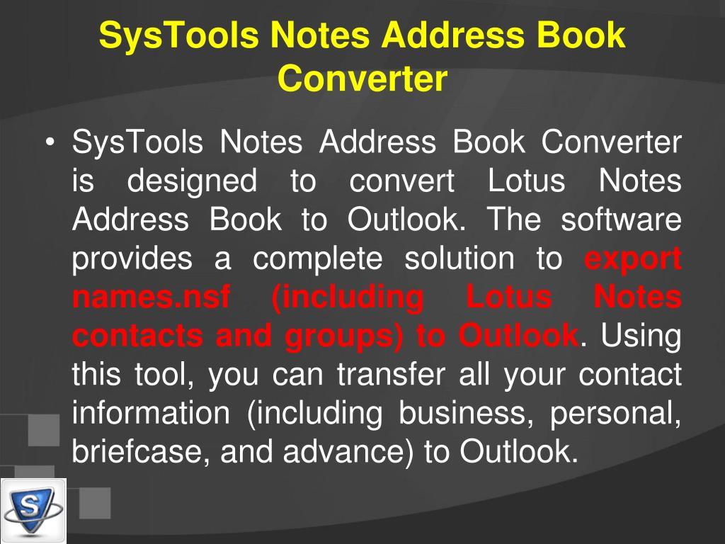 SysTools Notes Address Book Converter