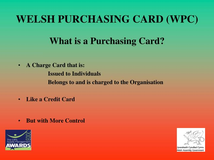 Welsh purchasing card wpc