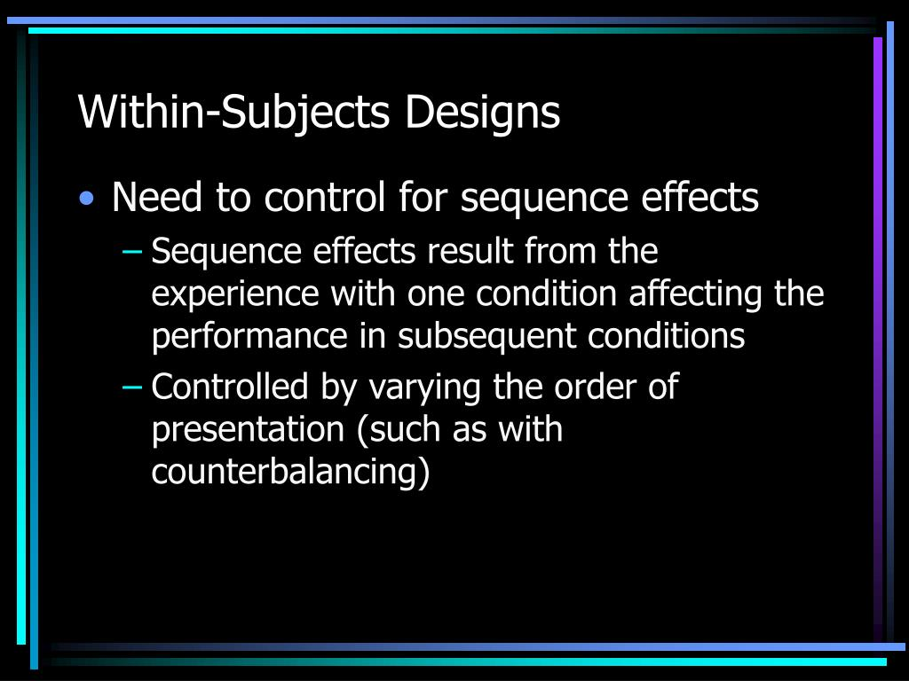 Within-Subjects Designs