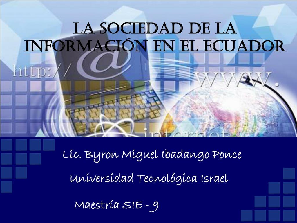 la sociedad de la informaci n en el ecuador l.
