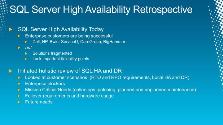 Sql server high availability retrospective