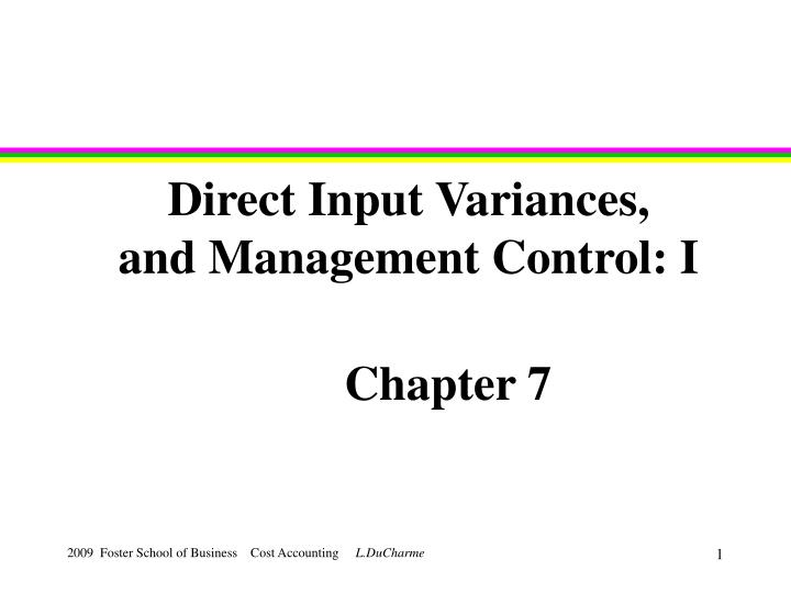 direct input variances and management control i n.