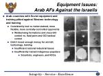 equipment issues arab afs against the israelis
