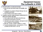 equipment issues the luftwaffe in wwii