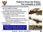 failed to know the enemy the luftwaffe in wwii