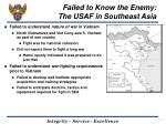 failed to know the enemy the usaf in southeast asia