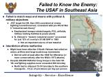 failed to know the enemy the usaf in southeast asia42