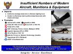 insufficient numbers of modern aircraft munitions equipment