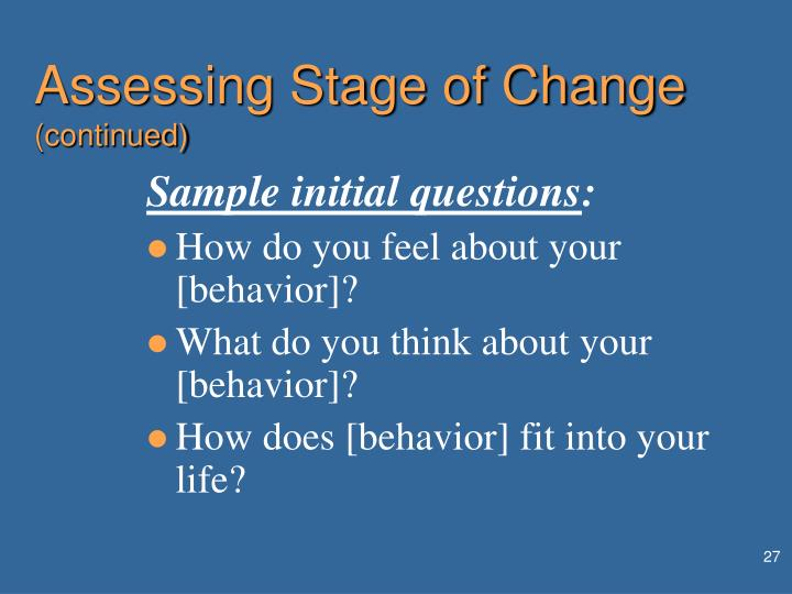 Assessing Stage of Change
