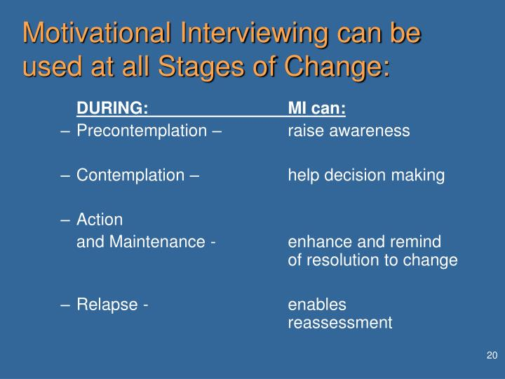Motivational Interviewing can be used at all Stages of Change: