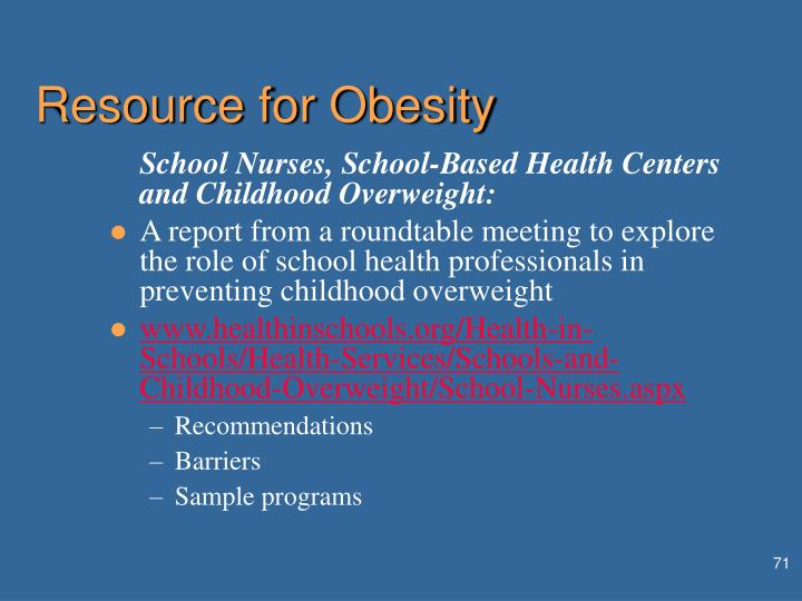 Resource for Obesity