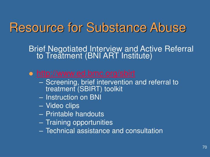 Resource for Substance Abuse