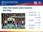 how the goals were scored set play