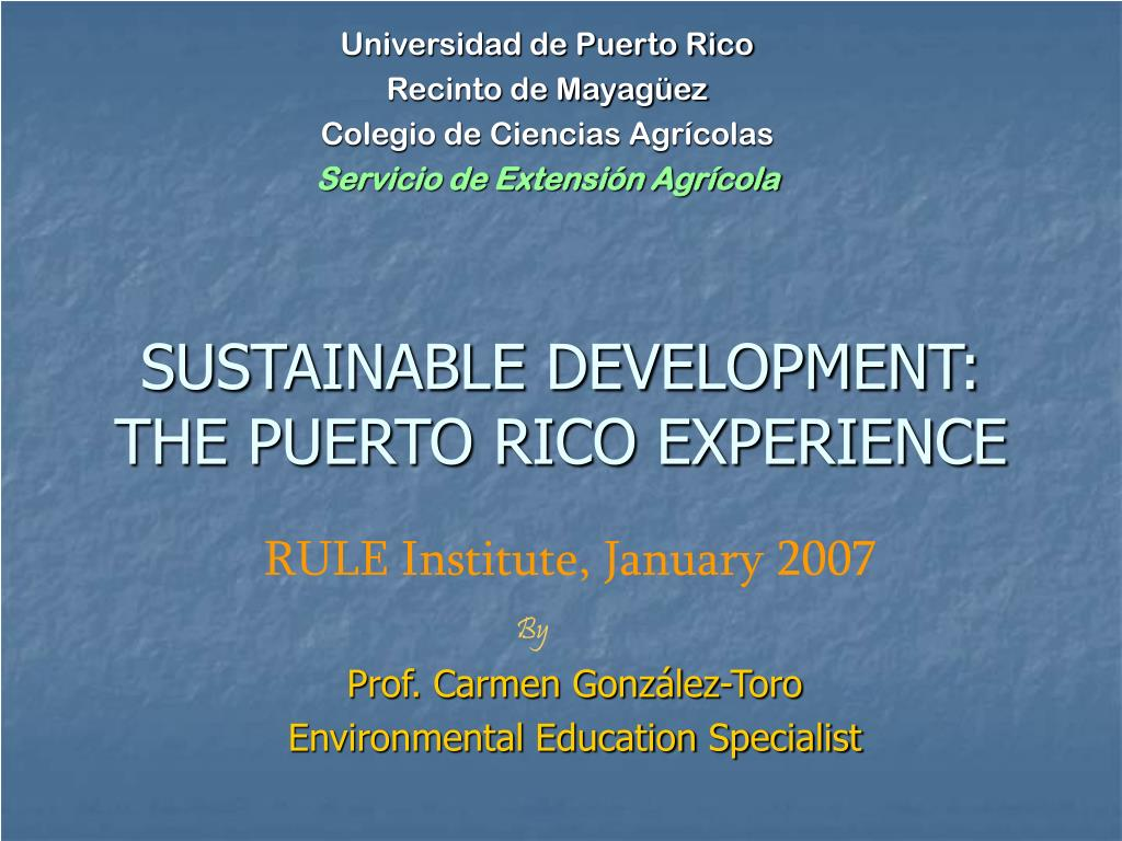 sustainable development the puerto rico experience l.